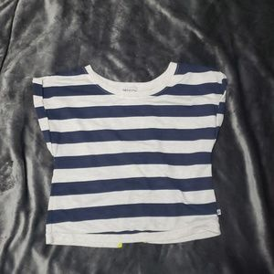 Womens striped crop top fly away back Large NWOT